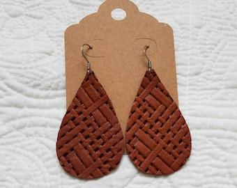 Genuine Leather Teardrop Earrings in Brown Basket Weave