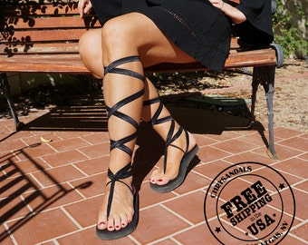 Knee High Lace Up Gladiator Sandals in Black- Women's Sandals-Boho Sandals-Vegan Sandals