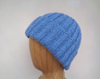 Hand Knit Hat, Denim Blue, 100% Cashmere, Cashmere Knit Hat, Watch Cap, Luxury Natural Fiber, Gift for Him Her, Men Women