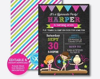 Instant Download, Editable Gymnastics Birthday Invitation, Gymnastics Invitation, Gymnastics Party Invitation, Girl, Chalkboard (CKB.465B)