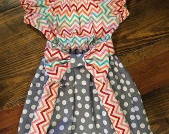 Chevron and polka dot peasant dress