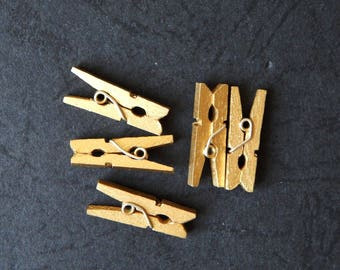 set of 5 mini wooden clothespins gold 25 mm