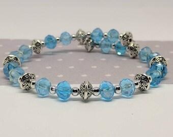 Blue wrap bracelet, memory wire Bracelet, Austrian beads, glass beads, Bridesmaid gift, wedding jewelry, blue bracelet, something blue