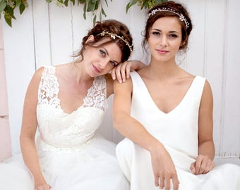 Bridal Crown, Headpiece, Bridal headpieces, bridal headband, Leaf headband, Swarovski Element, bridal hair accessories, vines Crown Français