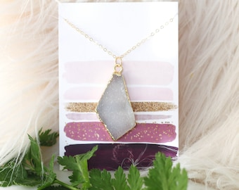 Asymmetrical Druzy Necklace