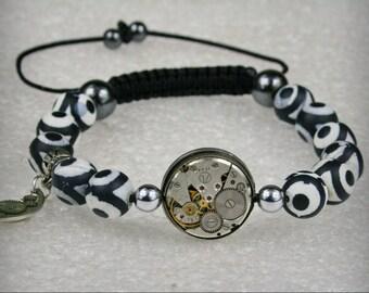 Mens Steampunk bracelet of matte Black White Agate  Beads , watch movement , bracelet Shamballa , movement bracelet , Clockwork bracelet