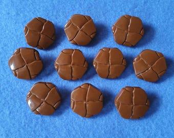 Ten Brown Plastic Vintage Shank Buttons, vintage buttons with metal shanks, ten large buttons, vintage plastic hexagon buttons