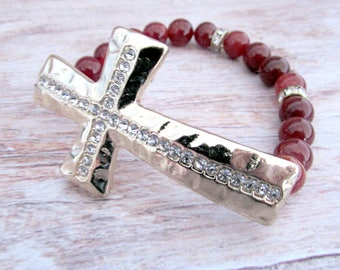 Beaded Cross Stretch Bracelet - Religious Jewelry for Her - Cross Bracelet - Red Stone - Everyday - Girlfriend Gifts Under 20 - Cross Cuff