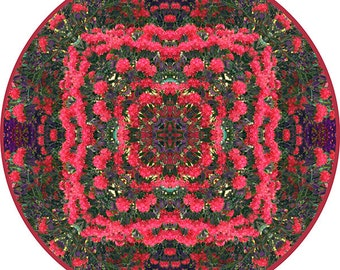 Red Flower Mandala Art, Meditation Art, Zen Art,  Circle Print, Nature Photography, Peaceful Wall Decor