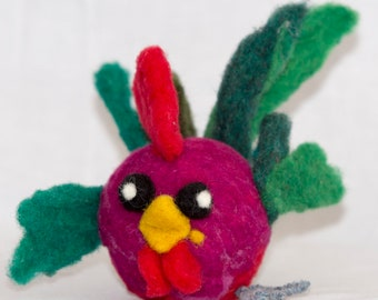 Needle Felted Rooster Debating Rooster Rainbow Rooster Wool Felted Rooster Unique gift