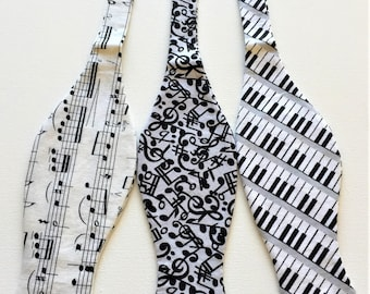 Music Bow Ties. Sold Individually: Sheet Music, Mix Notes on grey, or Piano Keys. Perfect for the musician, or music lover.