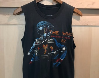 Vintage The Who T Shirt - Band Tee - 1982 American Tour Shirt - Sleeveless Top - Festival Clothing - Tour Tee - Band Shirt - XS SMALL