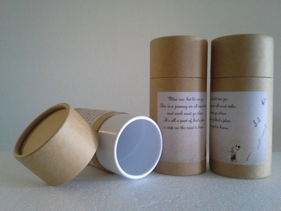 """SET OF THREE Eco-Friendly Cremation Urn Scattering Tubes w/Telescopic Lids - Natural/Biodegradable - Style """"Footprints"""""""