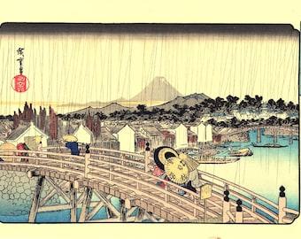 """Japanese Ukiyoe, Woodblock print, antique, Hiroshige, """"Shower on Nihonbashi Bridge"""""""