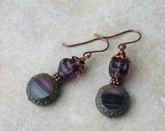 Dark Purple and Lilac Glass Dangle Earrings, Purple and Copper Glass Earrings