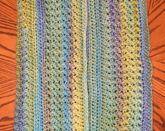 Hand-crocheted, variegated heirloom baby blanket