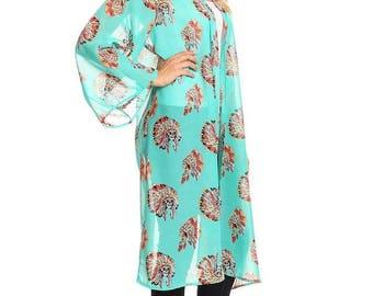 Turquoise Long sleeve kimono