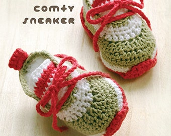 Crochet Pattern Baby Sneaker Comfy Baby Sneakers Crochet Pattern Baby Sport Shoes Crochet Booties Newborn Sneakers Pattern Newborn Shoes