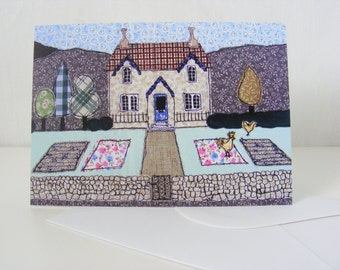 """Blank Greetings Card showing Country Cottage Embroidered Picture  6""""x4"""" approx"""
