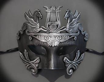 Men's Masquerade Mask, Roman Mask, Masquerade Ball Mask, Men's Mask, Sun God Dance Mask - Dark Silver
