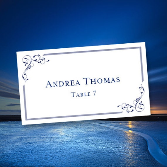 Printable Place Cards Elegance Navy Blue Edit - Avery place cards template