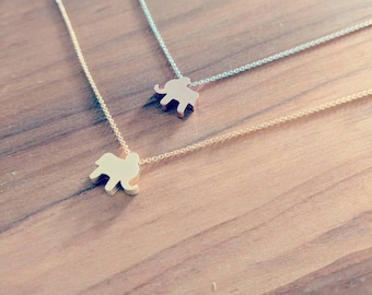 Gold and Rose Gold Elephant Necklaces on Silver Gold or Rose Gold Chain
