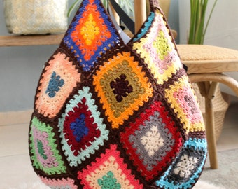 Crochet handbag, Crochet handmade bag, Vintage crochet bag, Hippie bag crochet, Shoulder bag crochet, Tote bag crochet