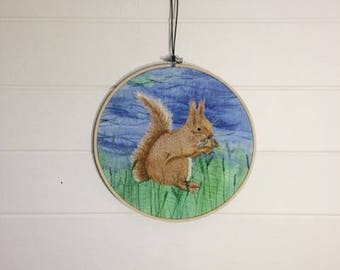 Red Squirrel embroidery hoop art