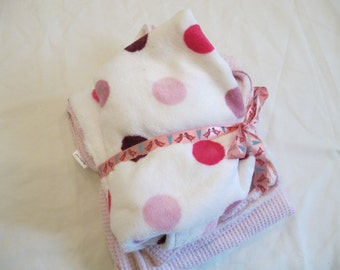 Pink Pock a Dot Cuddle Fabric and Cotton Waffle Fabric baby blanket with Pouch - Ready to ship - Free Shipping