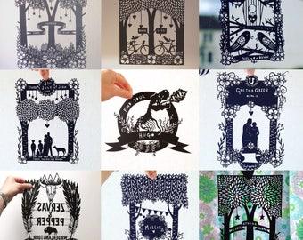 PaperCut / personalisierte Papercut / Papercut Kommission / Hochzeitsgeschenk / ersten Hochzeitstag Geschenk / personalisierte Geschenk / Papierschnitt