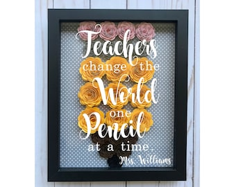 Personalized Teacher Pencil Rolled Flower Shadow Box