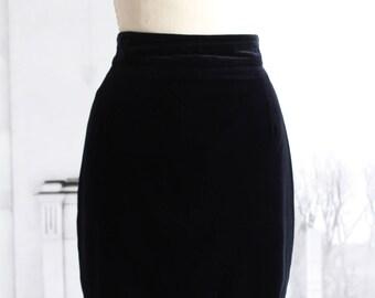 Vintage velvet navy skirt