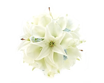 Stemple's Gatherings-Real Touch White Callas,White Tiger Lilies & Light Blue Wax Flower-In a vase or as a wedding bouquet