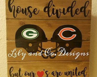 House Divided Hearts United Football Sign