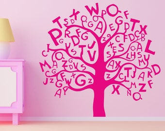 More colors. ABC Tree Wall decal ...  sc 1 st  Etsy & Alphabet tree decal | Etsy