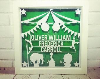 Personalised Circus Theme nursery decor, personalised papercut, nursery art, nursery wall art, nursery wall decor, name art, circus nursery