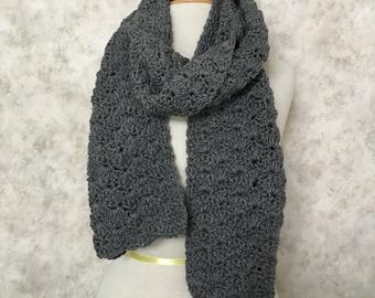 Grey Heather Shell-Stitch Scarf