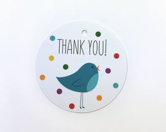 Thank You gift tag with illustrated blue bird and confetti – set of 12