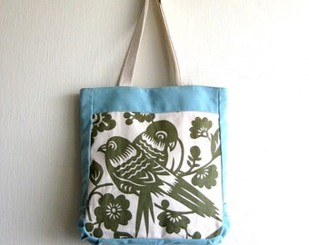 20% OFF Summer Sale - It was 59 USD - OOAK - The Lola Bag - Fabric Tote in light blue/cream and  military green fabric with birds