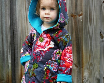 Girls Jacket Pattern with ruffles --Hooded Jacket -- for Boys as well (reversible) 2t - 10 Instant