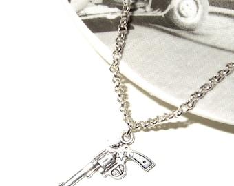 Gun Necklace, Simple Gun Charm, Silver Pistol, Revolver Necklace, Gun Pendant, Gun Jewelry, Small Gun Charm, Tiny Gun Pendant, Silver Gun
