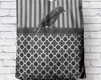 Stripes and Scallops with Raven Canvas Tote Bag Gray