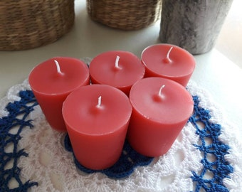 Handmade Scented Votive Candles | Carnation and Geranium Scented | Scented Votive Candles | 5 Votive Candles | NEW!