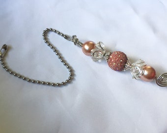 Rose Gold Beaded Fan Pull, Rose Gold Silver Ceiling Fan Pull, Ceiling Fan Bling, Housewarming Gift, Ceiling Fan Accessory, Rose Gold Decor