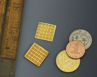 """Vintage brass textured 11/16"""" square. Vintage stamping. Sold per pair. Beadwork, Jewelry making, Jewelry supply."""