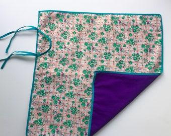 Vintage Green Rose Picnic Blanket for 18 inch Dolls