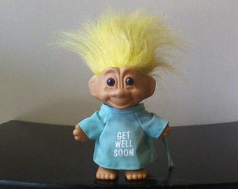 """Vintage Russ Troll Doll Get Well Soon Yellow Hair Trolls 5"""" Hospital Gown Get Well Gift Present"""