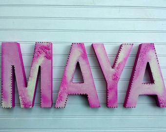 Girl Name Letters - Rustic Wall Letters -  Nursery Letters - Baby Girl Name - Kids Name Letters - Bohemian Kids Decor
