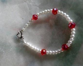 Little girl pearl and Ruby bracelet