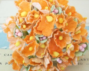 Forget Me Nots / Vintage Millinery / Orange / One Small Bouquet